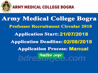 Army Medical College Bogra Professor Job Circular 2018