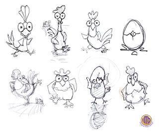 Refined rooster sketches by Imagine That! Design for the fun family game Rooster Race
