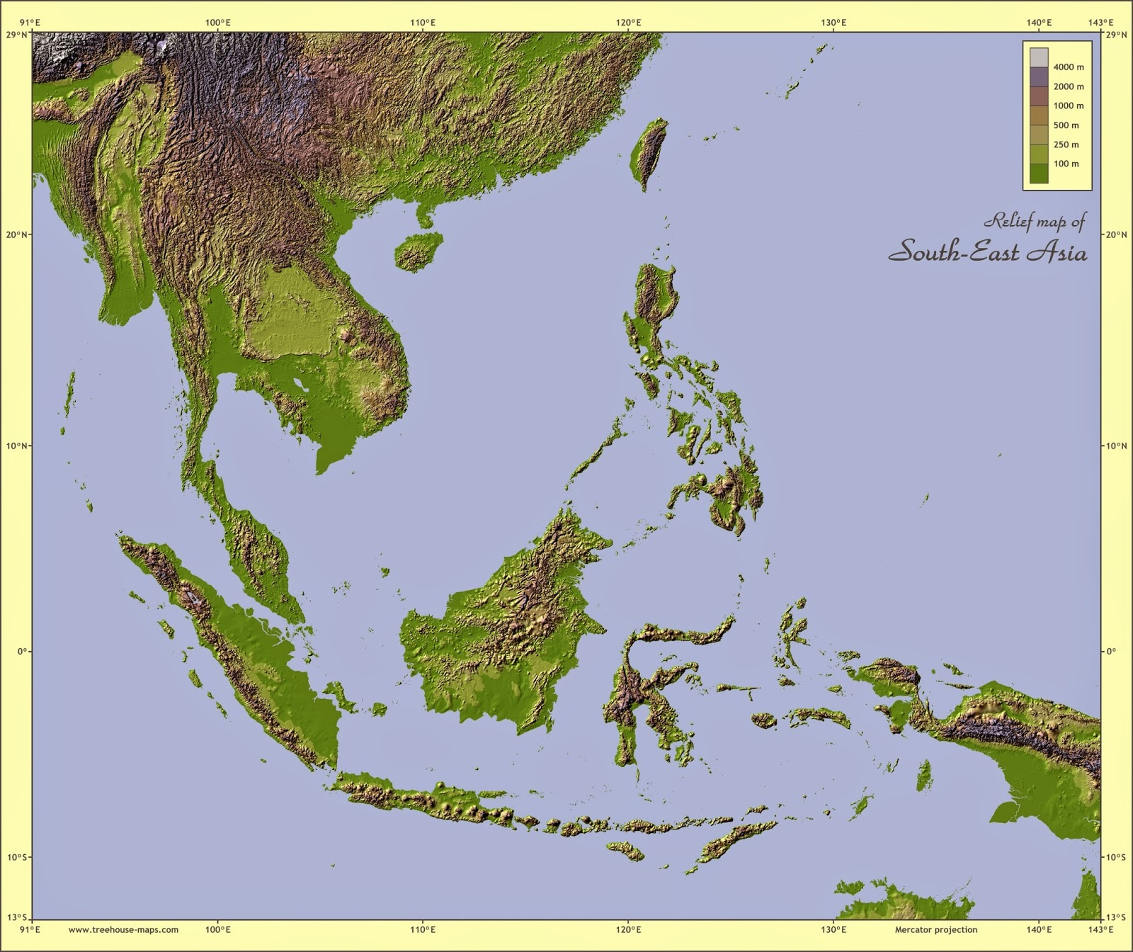 ... Se Asia Relief Map Topographic; Southeast ...