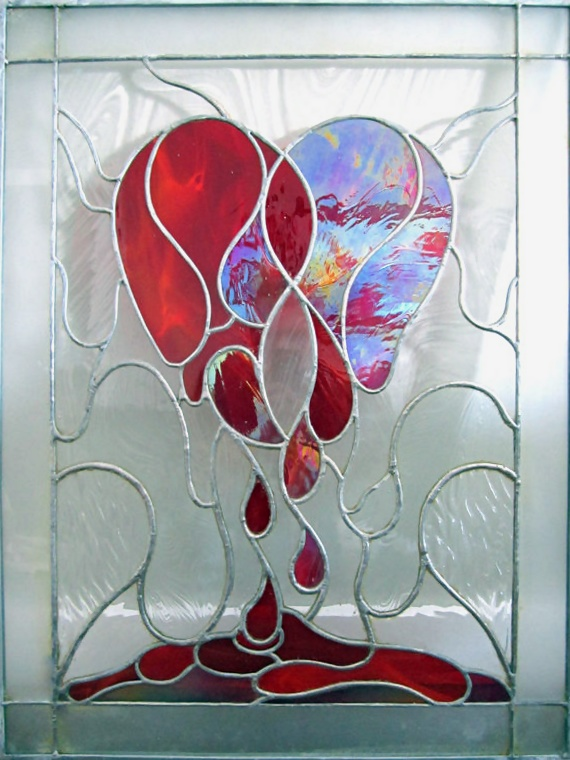 Weeping Heart Stained Glass Window by cutiepa2d