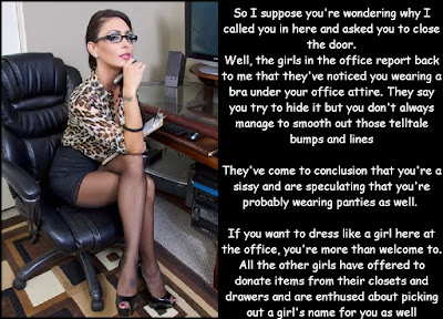 Being caught at work Sissy TG Caption - World TG Captions - Crossdressing and Sissy Tales and Captioned images