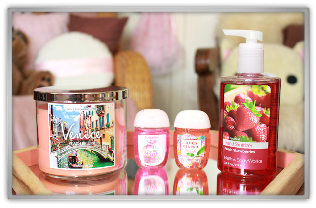 Bath and Body Works Summer Haul Review Venice peach bellini candle hand sanitizer strawberries pocketbac pretty in pink juicy georgia