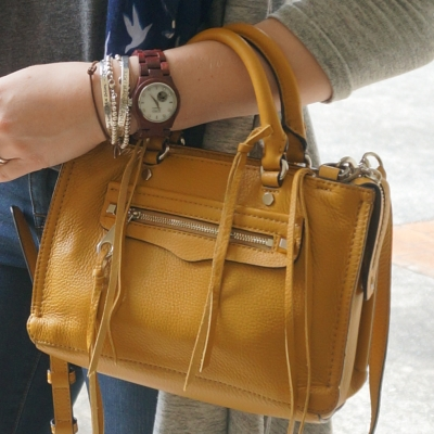 JORD COra purpleheart wood watch, Rebecca Minkoff micro Regan satchel in Harvest Gold | AwayFromTheBlue