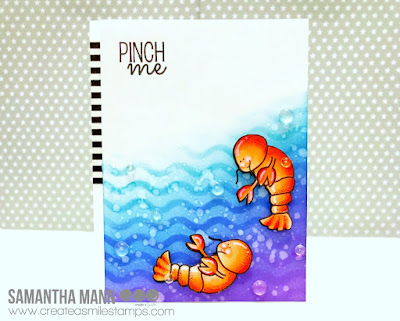 Pinch Me Card by Samantha Mann - Create a Smile Stamps, lobster, ocean, stencil #createasmiles #cards #stamps #inkblending