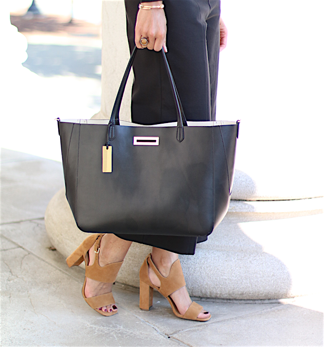 Wide Leg Pants, Suede Block Heeled Sandals, Black Tote | Savor Home