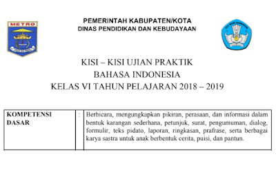 Download Kisi-kisiBahasa Indonesia SD MI Tahun 2019