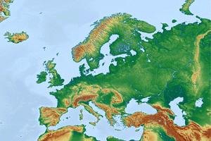 Mapa físico con las principales penínsulas europeas