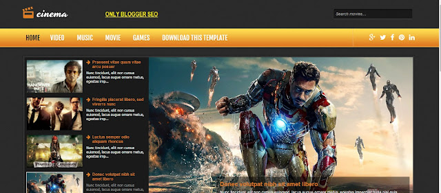 Cinema video Blogger Responsive Template free download