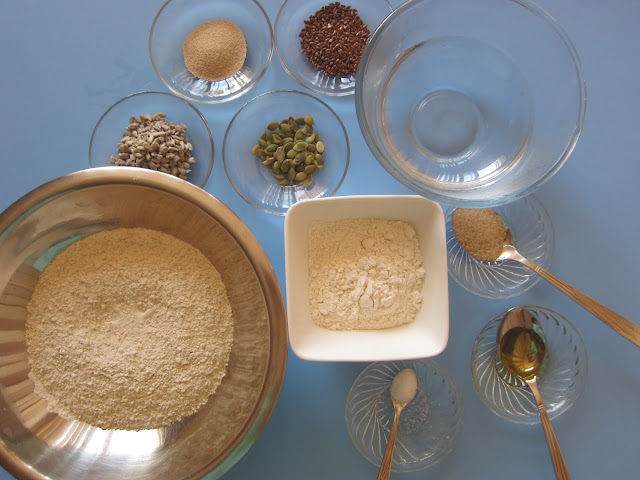 Homemade bread with seeds and wholemeal flour