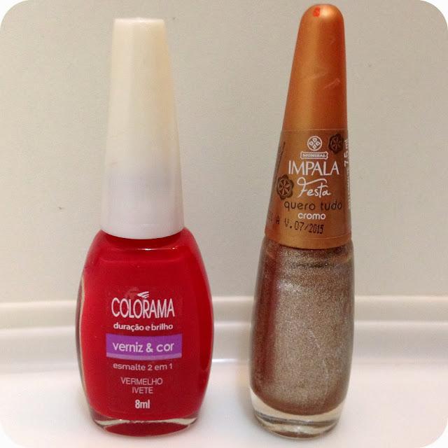 Esmaltes: Vermelho ( Vermelho Ivete / Colorama ) Dourado ( Quero Tudo Cromo - Impala )