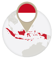 Indonesian flag and map