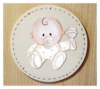 placa de puerta infantil  bebé con sonajero babydelicatessen