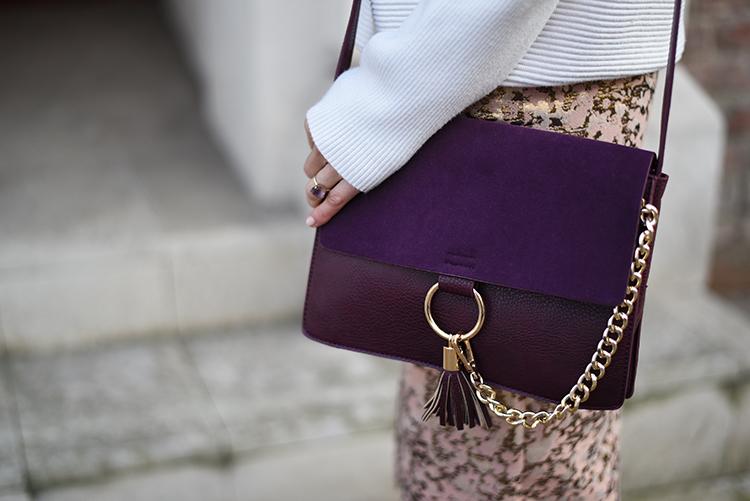 Skinny Buddha metallic gold front slit dress purple bag