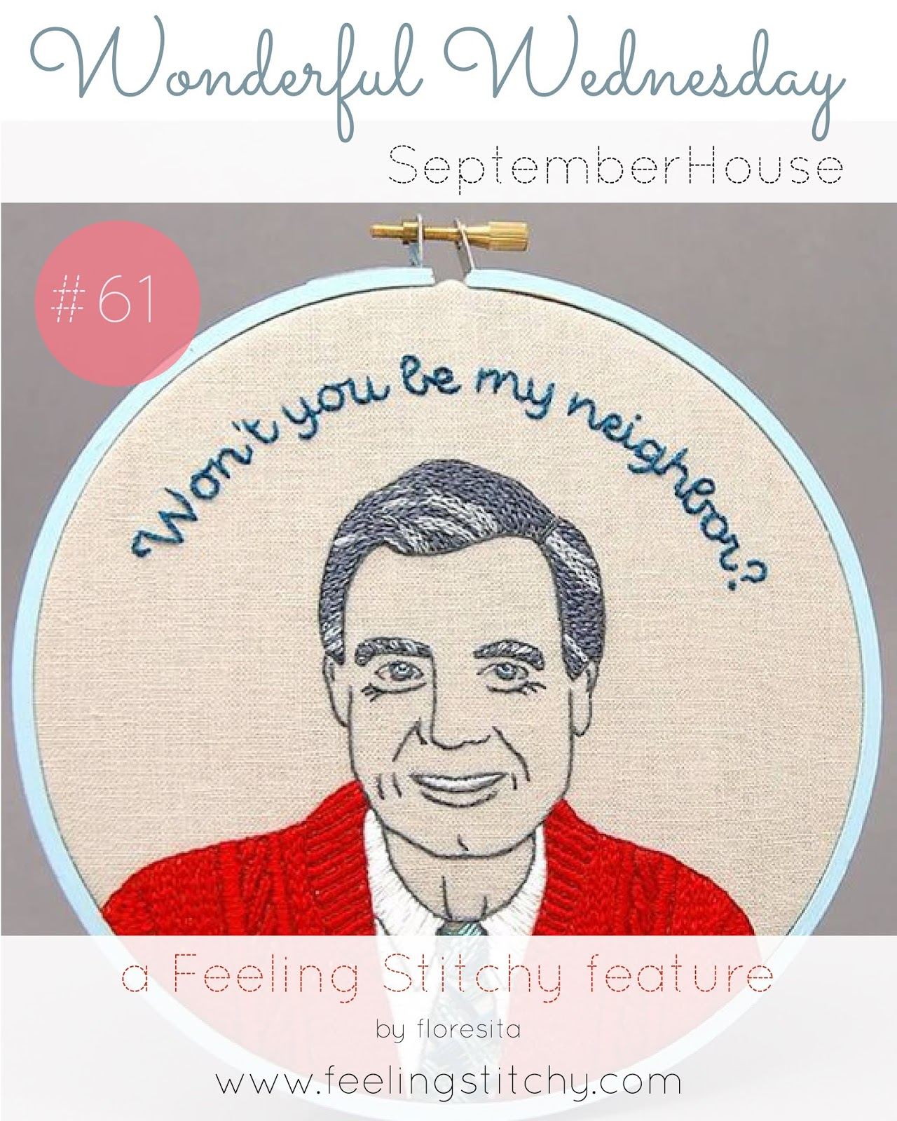 Wonderful Wednesday 61 Free Mr. Rogers pattern by SeptemberHouse as featured on Feeling Stitchy by floresita