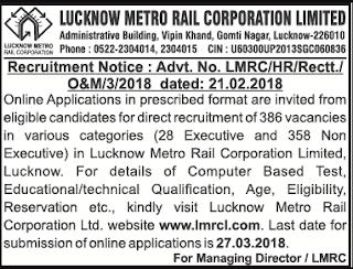 Lucknow Metro Recruitment 2018