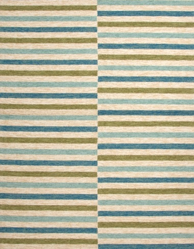 green and blue striped rug