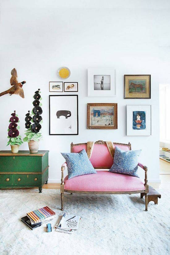 My scandinavian home the happy home of artist kate schelter for Pink and green living room ideas