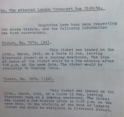 MI5 report on the two bus tickets found in Engelbertus Fukken's pockets.  (KV 2/114 - 18a - National Archives)