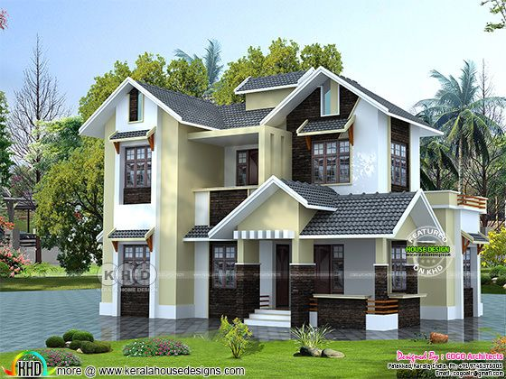 1650 sq-ft 4 bedroom sloping roof Kerala home design