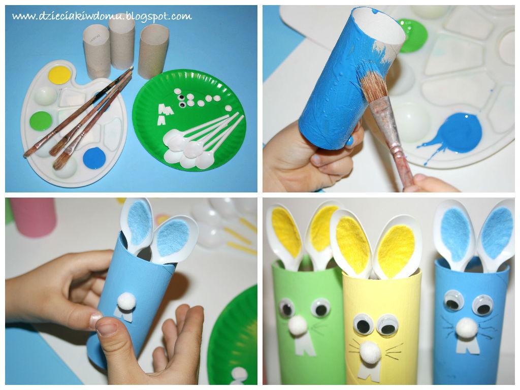 kreatywne zajączki z rolek - wielkanocna praca plastyczna dla dzieci
