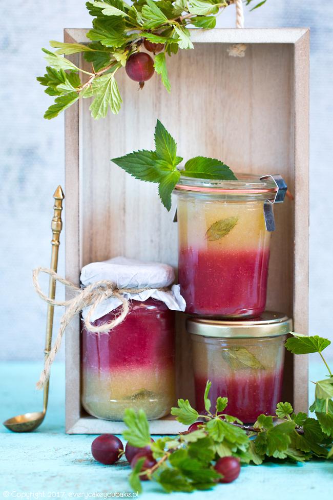 dżem agrestowo-miętowy dwukolorowy z agrestu czerwonego i zielonego