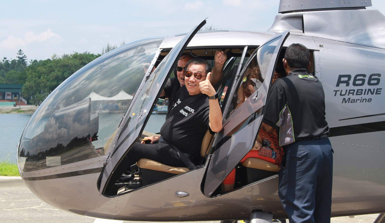Customers At Wine Talk Cempaka Helicopter Ride Across