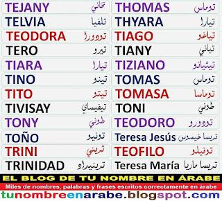 Nombres en arabe para tatuajes: Thomas, Tomas, Teresa Maria