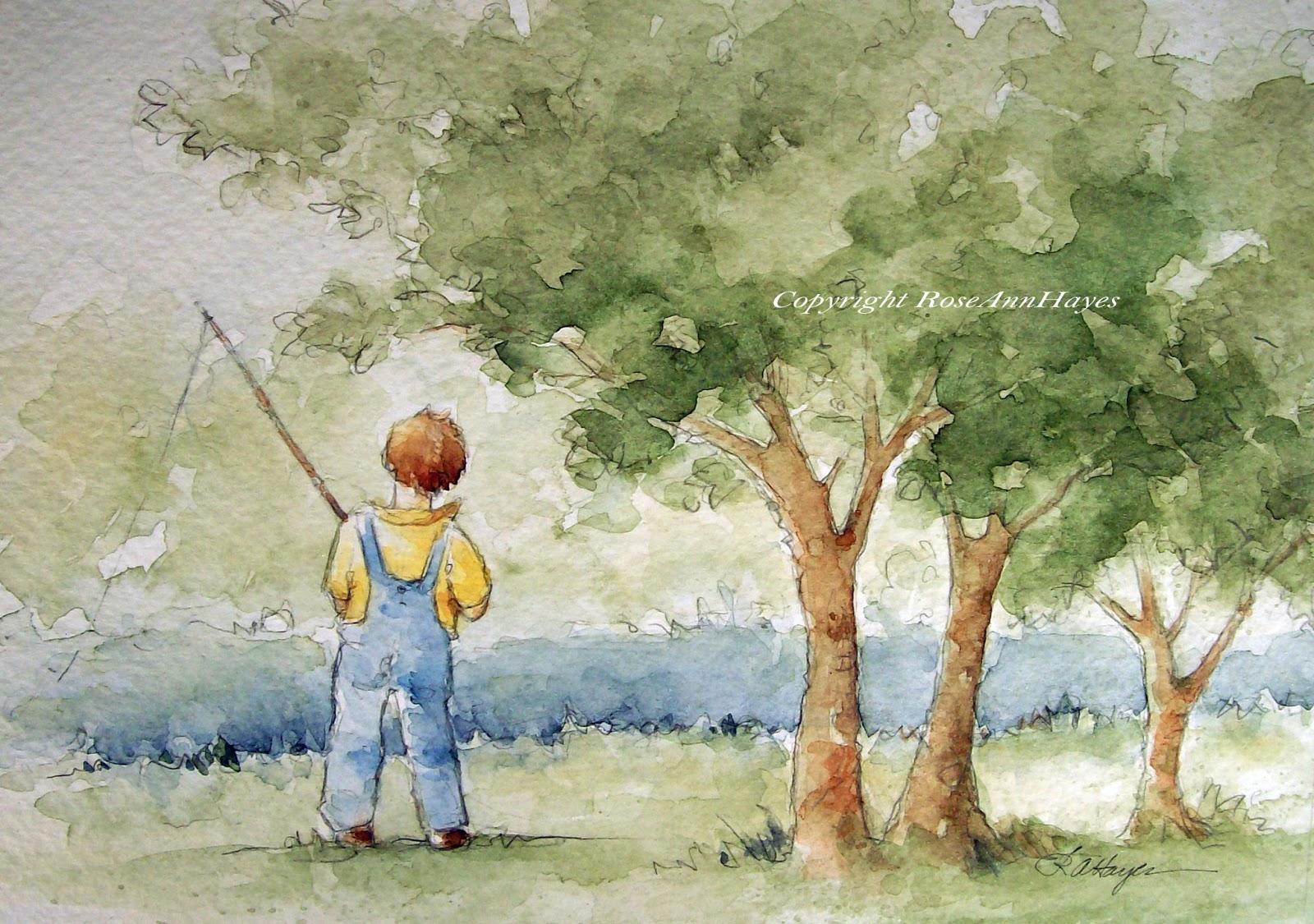 Watercolor paintings by roseann hayes for Little boy fishing