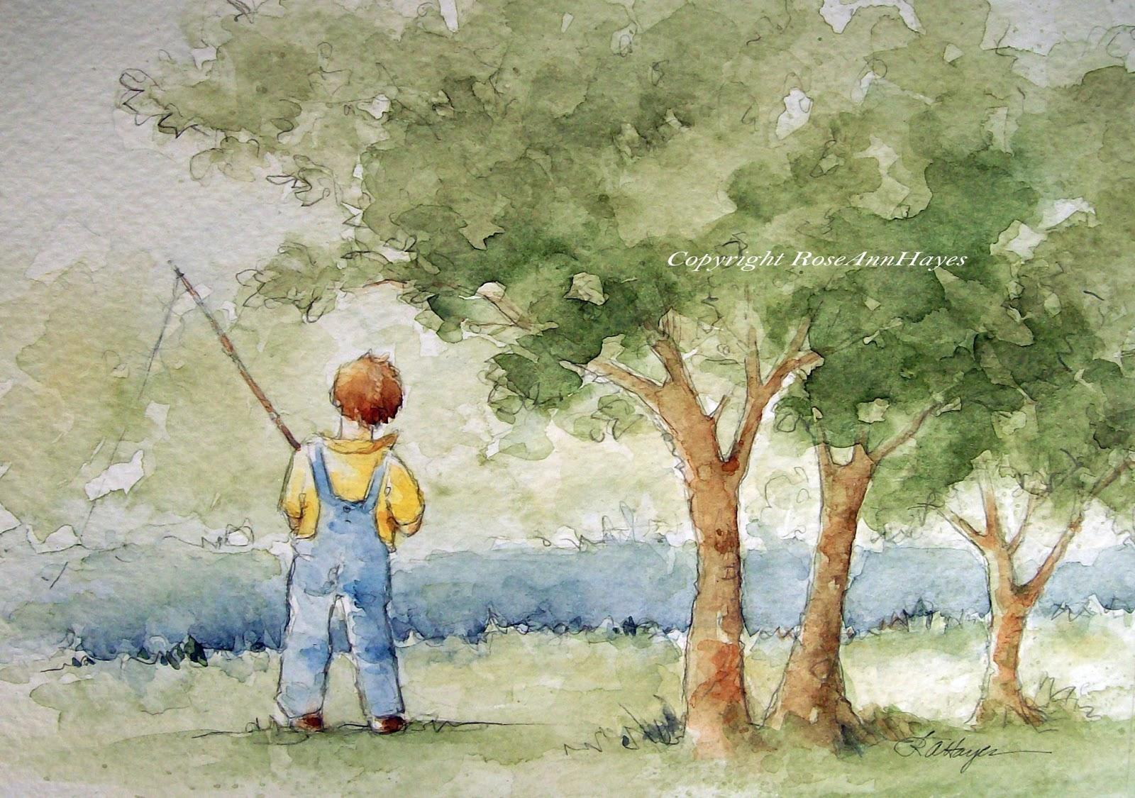 Watercolor Paintings by RoseAnn Hayes: Little Boy Fishing Original ...