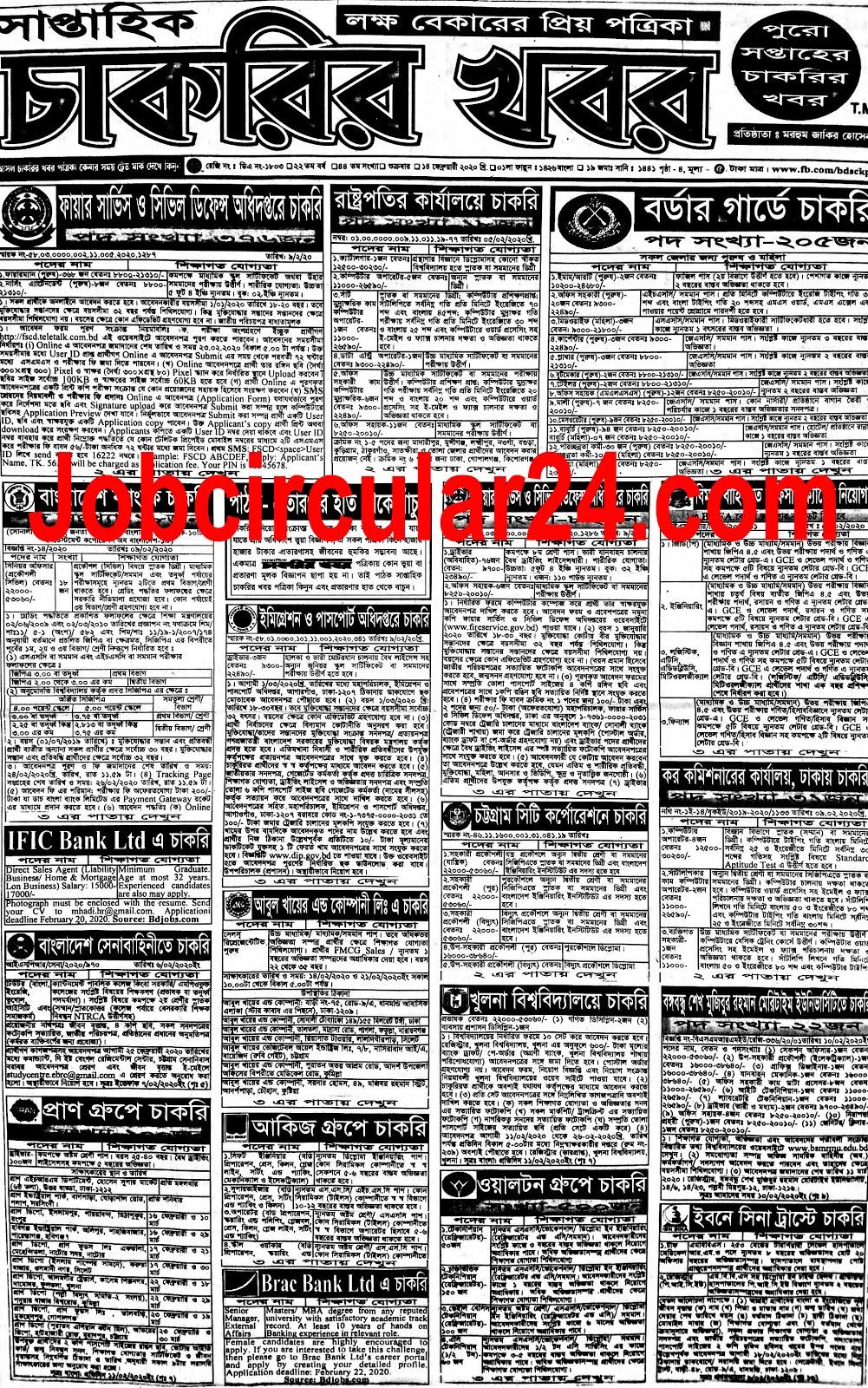 সপ্তাহিক চাকরির খবর পত্রিকা ১৪ ফেব্রুয়ারী ২০২০