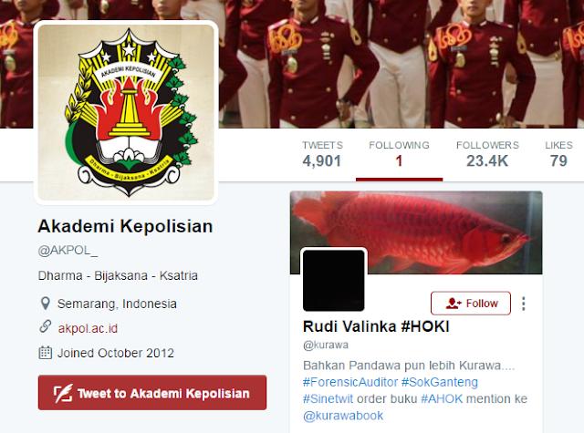 WADUH!! FOLLOWING Akun Akademi Kepolisian Bikin Kaget, Cuma 1. Dan Itu Akun Dedengkot AHOKER!