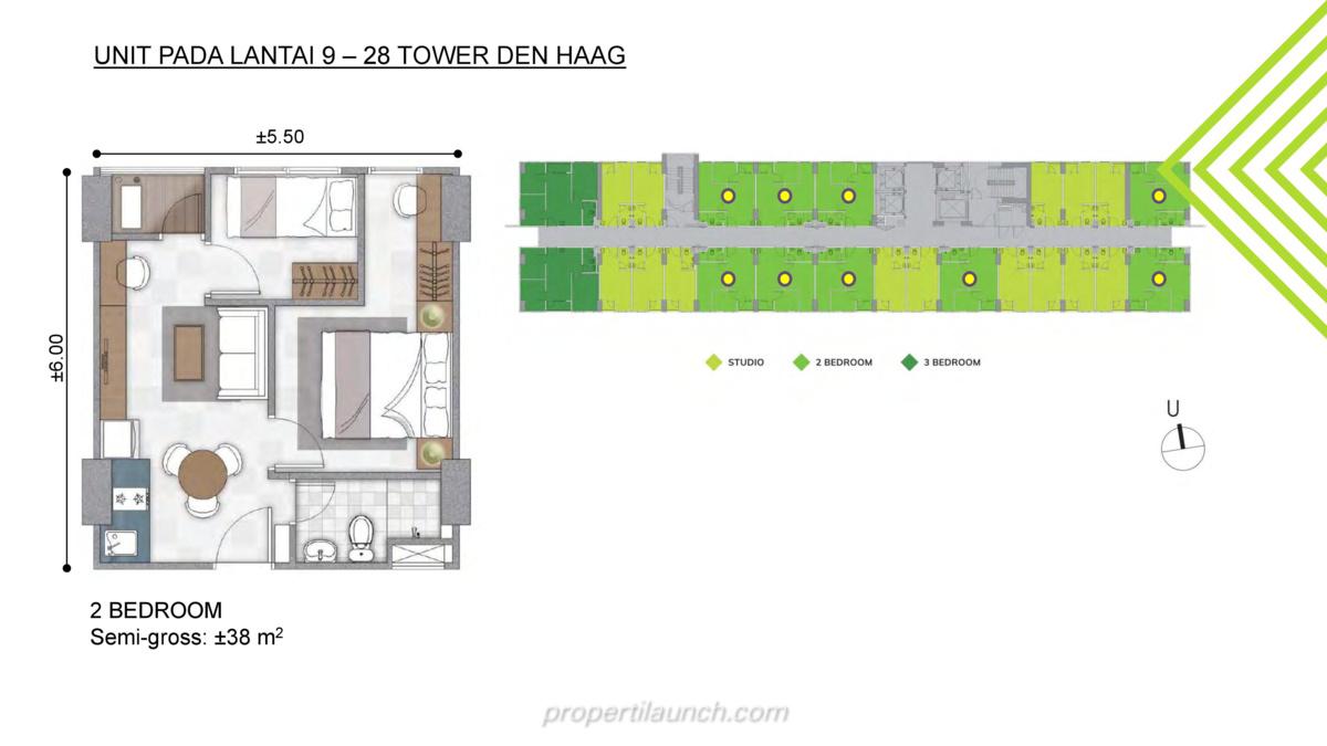 Tipe 2 BR - Floor Plan Lantai 9-28