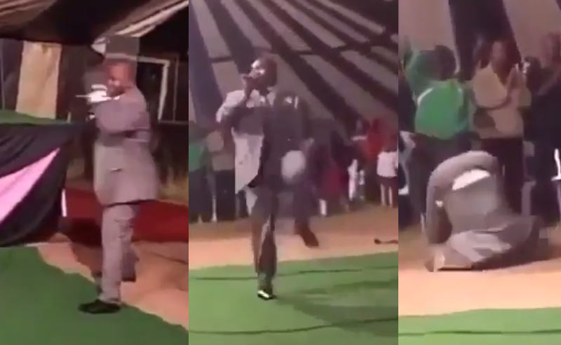Video: Nigerian pastor trips and falls during deliverance, receives rousing applause