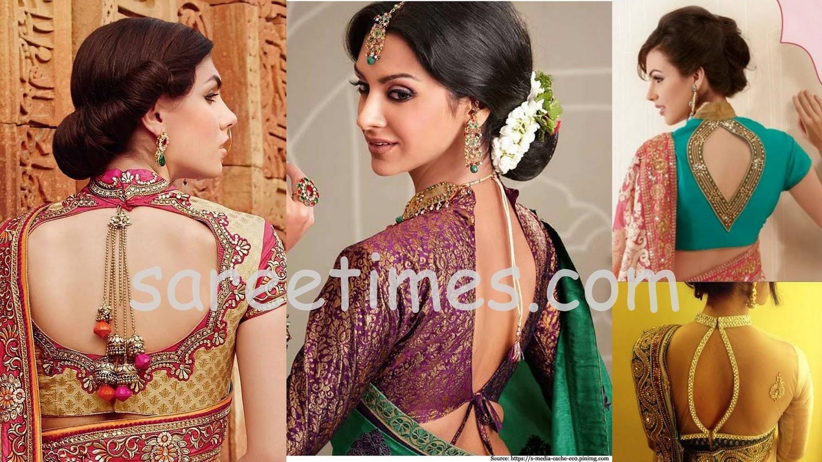 Latest saree blouse design neck - Tags Saree Blouse Back Designs Embroidery Blouses Kundan Saree Blouses