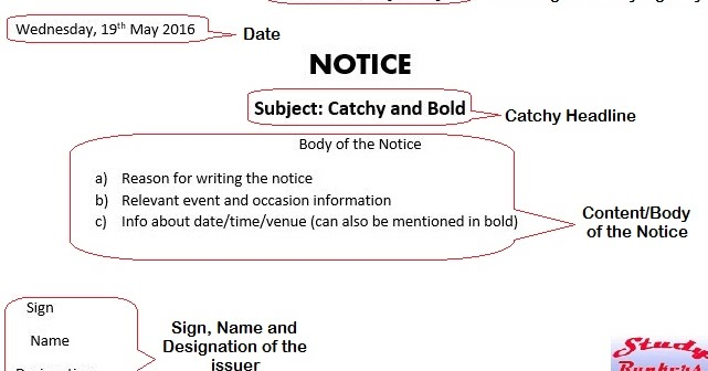 Notice Writing Format | Format For Writing Notice With Example Study Rankers