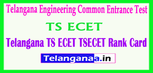 Telangana TS ECET TSECET 2018 Rank Cards Download