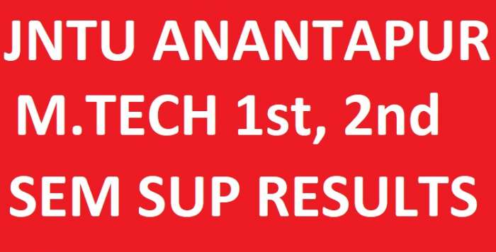 JNTUA M.Tech 1st & 2nd Sem Supply Exam Results