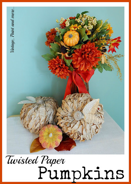 Vintage, Paint and more... decorative pumpkins made by twisting paper strips and gluing to a craft pumpkin