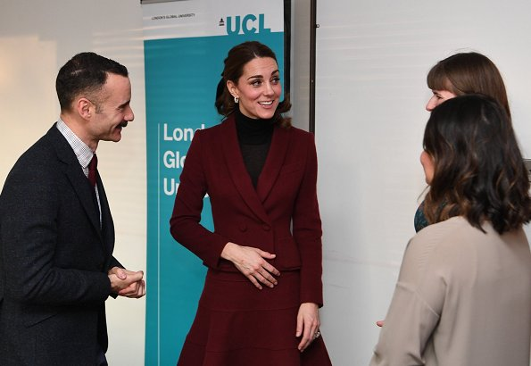 Kate Middleton's wearing her Paule Ka suit and Kate's wore velvet bow by J Crew. UCL Psychology and Language Sciences