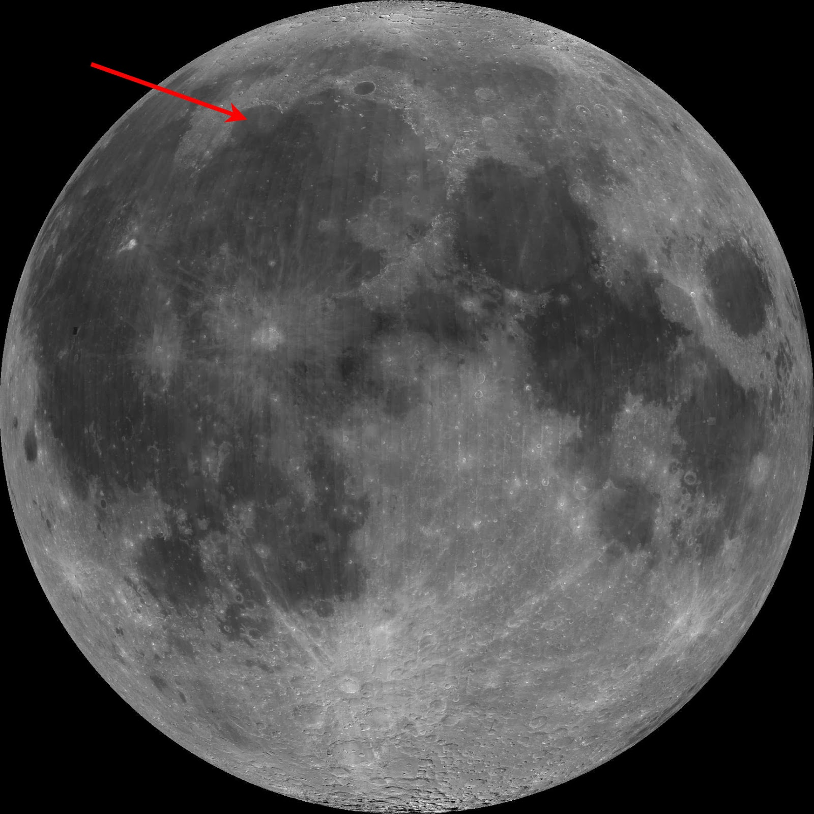 Near side of the Moon with Sinus Iridum pointed out