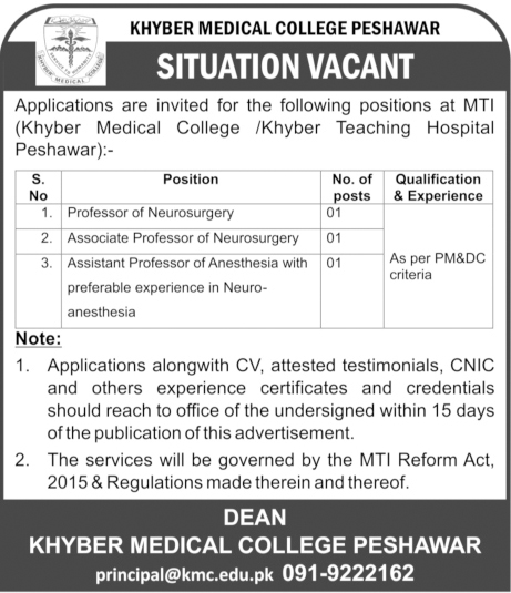 Faculty Jobs In Khyber Medical College Peshawar 17 May 2017