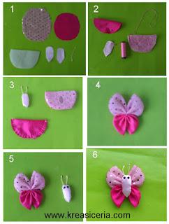 Tutorial cara membuat aksesoris kupu-kupu dari bahan kain perca