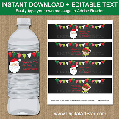 Christmas Chalkboard Water Bottle Labels with Santa and Elf