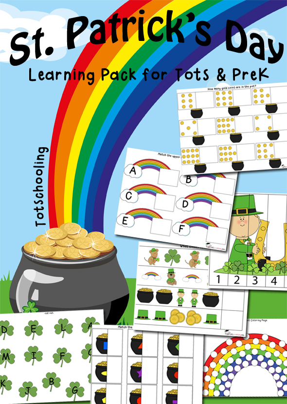 Free St. Patrick's Day Learning pack for toddlers and preschoolers featuring math, literacy, prewriting, visual skills and fine motor skills.