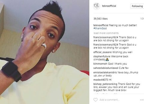 Tekno disclosed that he feels much more better now.