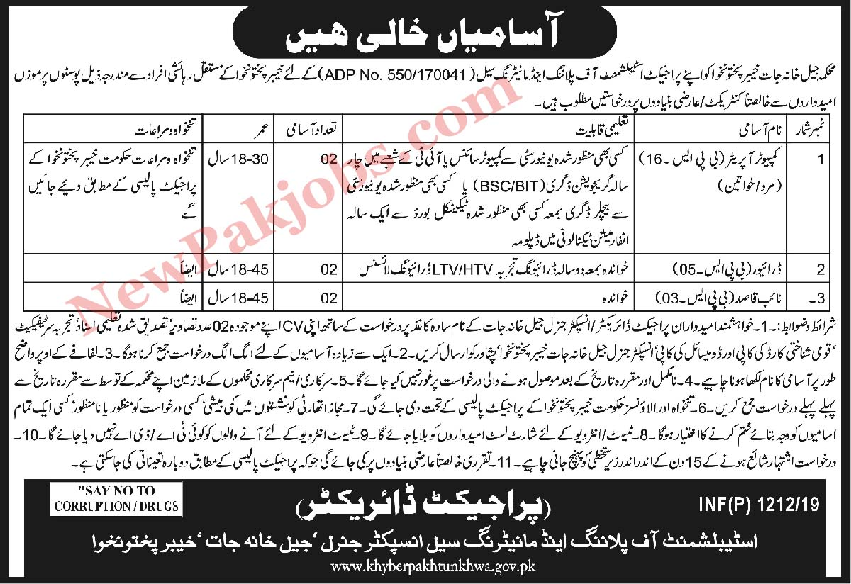 Jail Khana Jat Jobs in KPK 2019 Pakistan
