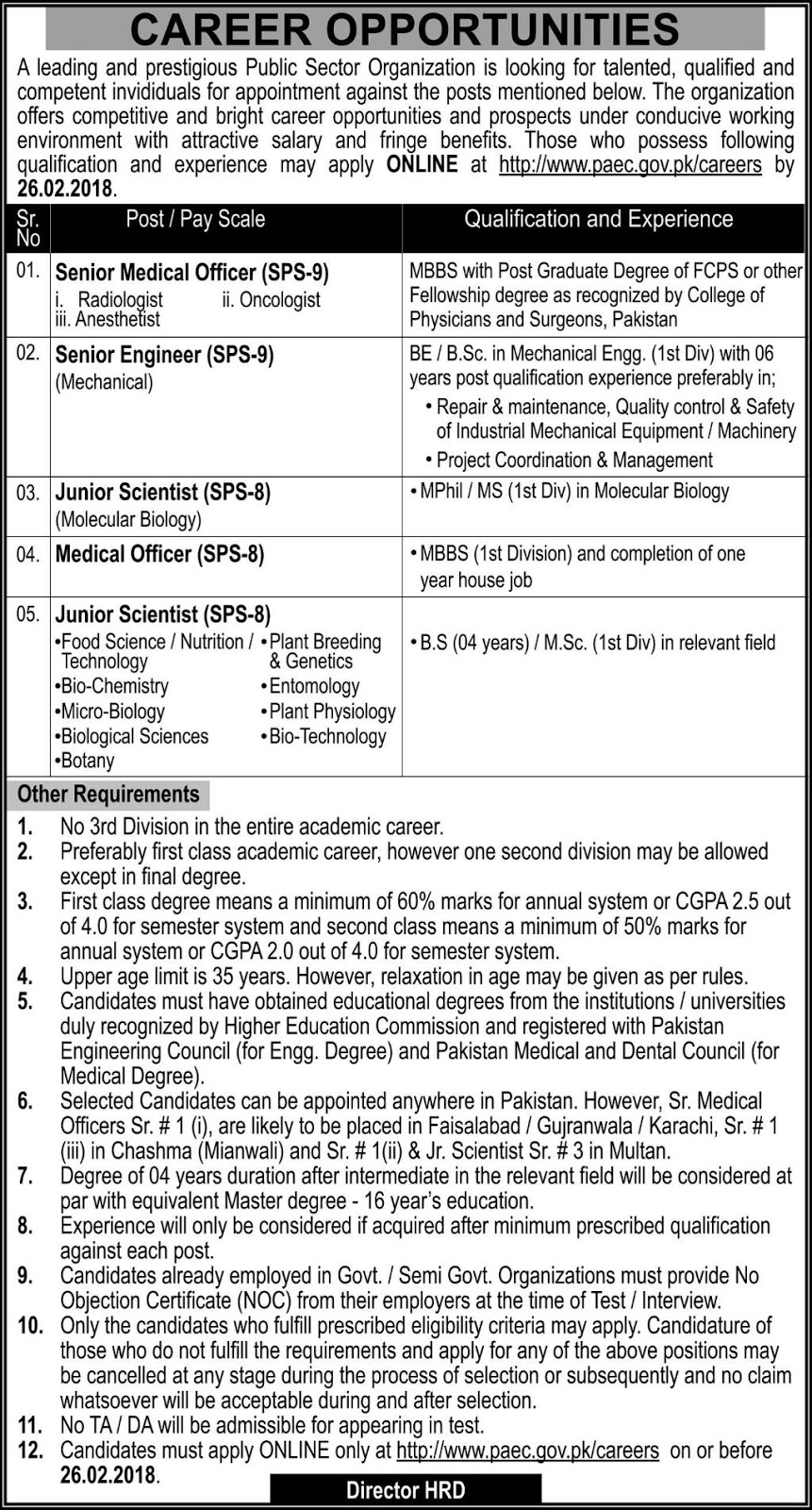 Pakistan Atomic Energy Commission Jobs 2018