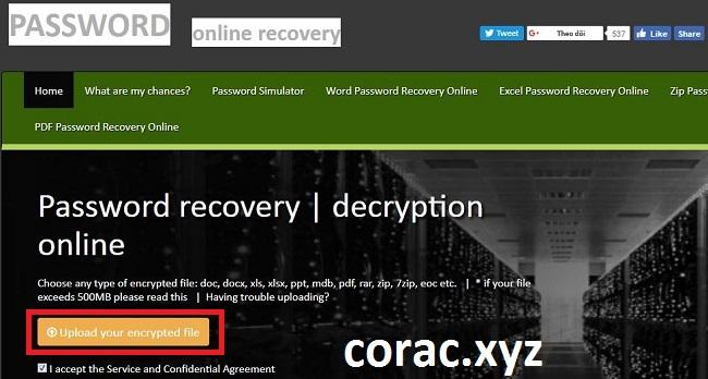 Giao diện phá mật khẩu file online