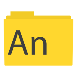 Preview of Animate, yellow, software, apps icons, animate folder icon
