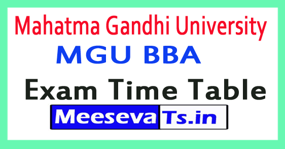 Mahatma Gandhi University MGU BBA  Exam Time Table 2017
